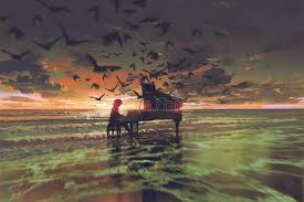 the man playing piano among crowd of birds on the beach stock ilration ilration