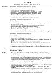 Registered Nurse Resume Examples Intensive Care Unit Registered