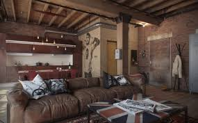 Industrial Living Room Furniture Industrial Living Room With Exposed Brick Loft And Interesting