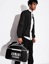 Armani Exchange Synthetic Faux-leather Duffel Bag in Black/White (Black)  for Men - Lyst