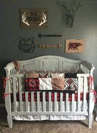 woodland boy crib bedding gray buck deer skin white arrow red black buffalo check and ensemble