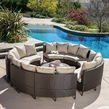 Beachcrest Home Sena Wicker 10 Piece Lounge Seating Group with