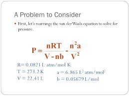 a problem to consider first let s rearrange the van der waals equation to solve for