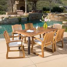 Christopher Knight Home Della Outdoor 7 piece Acacia Wood Dining Set with Cushions bcf44aee e58c 4fd0 af7a caf92c9 600