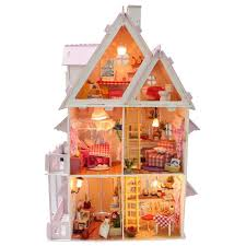 miniature wooden dollhouse furniture. 2016 New Wooden Dollhouse Furniture Kids Toys Handmade Gift Diy Doll House Kits With Led Stuff Home Decor Craft Houses Miniature X001 Wood L