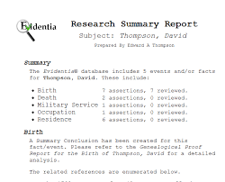 Sample Evidentia Reports - Evidentia