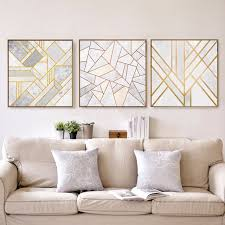 abstract geometric canvas painting grey gold red nordic posters wall art picture living room home decor on gray wall art for living room with abstract geometric canvas painting grey gold red nordic posters wall
