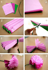 WEEK 18: DIY - Tissue Paper Peony Flower. Very doable and turns out pretty.  Used floral wire instead of pipe cleaner. | flowers | Pinterest | Paper  peonies, ...
