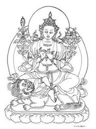 獅子に乗る文殊菩薩の塗り絵ー転法輪印宝剣経典の観音菩薩 大人の