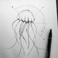 Geometric Jellyfish Art Illustration Tattoo Minimalist Drawing