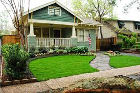 interior: Small Front Yard Landscaping With Natural Green Grass Side Cute  Stapping Plus American Flag