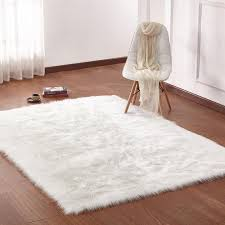 fox faux fur white rug factory plus in decorations 18