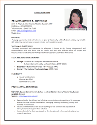 Examples Of Resumes Resume Sample For Job Application Format Pdf