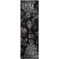 safavieh adirondack black silver 3 ft x 10 ft runner rug