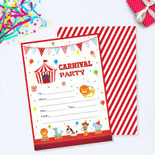 Carnival Birthday Invitations Us 4 59 40 Off Carnival Party Invitations Cards Cartoon Circus Animals Invitation Kids Carnival Theme Birthday Party Favor Decorations Zz005 In