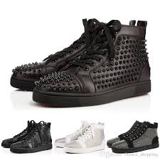 2019 new designer studded spikes flats shoes for mens women party genuine leather sneakers 35 46 whole high top shoes shoes for men from