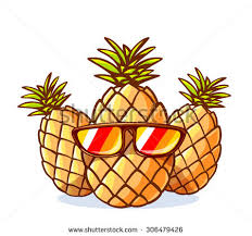 pineapple with sunglasses clipart. vector illustration of colorful yellow hipster pineapples with sunglasses on white background. hand draw line pineapple clipart p