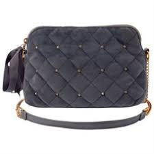 LOVE AND LORE VELVET QUILTED CROSSBODY BAG GREY