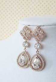 rose gold teardrop deluxe cubic zirconia teardrop earring chandelier earrings vintage halo style rose gold long bridal earrings wedding