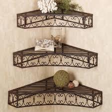 wrought iron bathroom shelf. Furniture. Black Wrought Iron Bellamy Scroll Corner Wall Shelf Set Floating On Grey Bathroom O