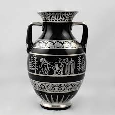 american rare rockwell art deco period greek revival silver overlay black glass vase for
