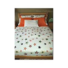 6 6 cotton duvet cover set with a plain orange bedsheet and 4 pillow cases