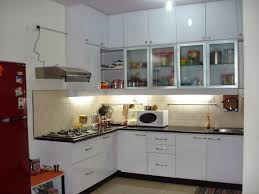 image of small l shaped kitchen with island