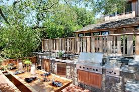 I KitchensRustic Outdoor Kitchen With Stone Counter Also Rustic Wood  Dining Table Creates A