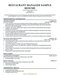 Restaurant Manager Resume Examples Job Bar Samples Pdf For Nurses