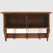 wall shelf with 2 wire baskets and 3 hooks