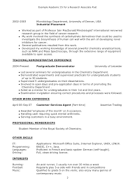 resume examples  academic resume examples resume objective    example academic cv for a research associate post   teaching or administrative experience and other work