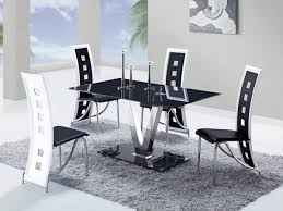 white and black dining room table. Global Furniture USA 551 Dining Set - Black Stainless Steel Legs A White And Room Table
