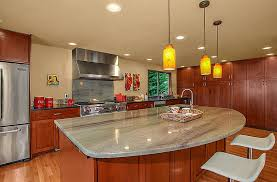 contemporary kitchen with cherry cabinets and island