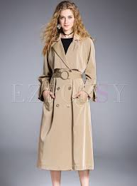 chic double ted flare sleeve trench coat