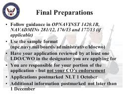 Opnavinst 1420 1b Limited Duty Officer Chief Warrant Officer Applicant Brief Ppt Video