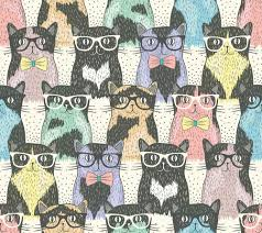 Hipster cute cats Wall Mural Wallpaper ...