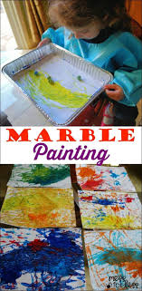 Marble Painting - fun art activity for preschoolers. My kids loved doing  this fun kids