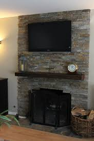 stone tile fireplace stacked ideas