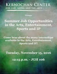 summer job opportunities in the arts entertainment sports and ip upcoming events