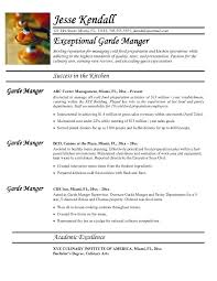culinary resume objective