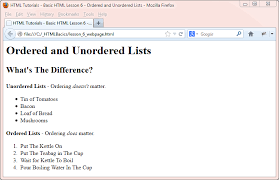 Html Basic Tutorials Ordered And Unordered Lists