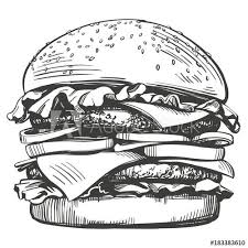 big <b>burger</b>, hamburger hand drawn vector illustration sketch <b>retro style</b>