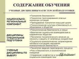Презентация на тему Магистерская программа ПСИХОЛОГИЧЕСКАЯ  4 СОДЕРЖАНИЕ ОБУЧЕНИЯ УЧЕБНЫЕ ДИСЦИПЛИНЫ МАГИСТЕРСКОЙ ПОДГОТОВКИ НАЦИОНАЛЬНО РЕГИОНАЛЬНЫЙ КОМПОНЕНТ Психология