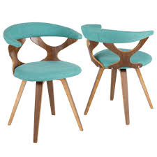 lumisource gardenia walnut and teal swivel accent and dining chair