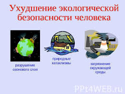 Презентация Экология и экологическая безопасность класс  Ухудшение экологическойбезопасности человека разрушение озонового слоя природные катаклизмы загрязнение окружающей среды