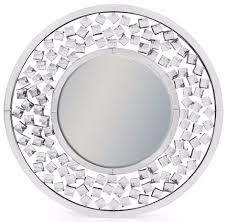 venetian round wall mirror with large diamond detail