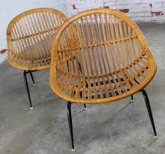 N SOLD  Pair Of Mid Century Modern Rattan Wicker Basket Chairs By Troy  Sunshade Company
