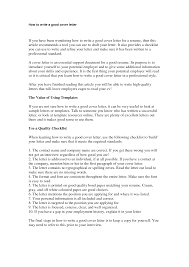 How To Right A Good Cover Letter What Should A Good Cover Letter