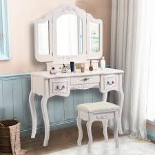 costway tri folding vine white vanity makeup dressing table set bathroom 5 drawers stool 0