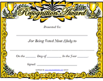 Free Printable Diploma Templates Free Printable Most Likely To Blank Awards Certificates Templates